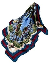 AIMEE7 Écharpe Femme en Soie Automne Élégant Soirée Rétro Jungle Imprimé  Carré Foulards Léger Chic Châles 8adb322f553