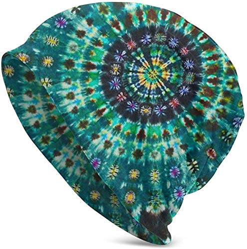 Sombrero de Navidad Indian Spiral Tie Dye Mandala Green Sombrero Unisex Pareja Hombres y Mujeres jóvenes Jersey Gorro cálido
