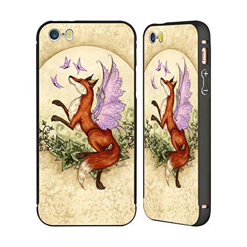 Ufficiale Amy Brown Volo Di Fantasia Mitologico Nero Cover Contorno con Bumper in Alluminio per Apple iPhone 5 / 5s / SE Volo Di Fantasia