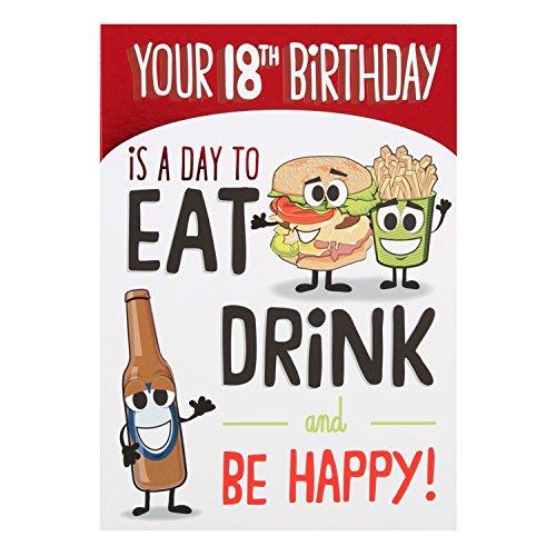 Hallmark 18. Geburtstagskarte Be Happy, englischer Text– mittelgroß, M