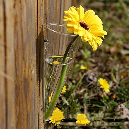 JWBOSS Hängende Vasen Kegel Glasblumenvase Mit 1 Stück Non-Trace-Nagel