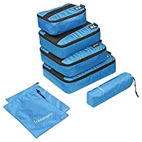 6-Piece Packing Cubes, Tr?�sutopia Mobutler Travel Luggage Packing Organiser with Laundry Bag and Shoes Bag (Blue)