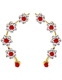 Beingwomen Multicolour Floral Stone Studded Fashion Alloy Cuff Earring for Women