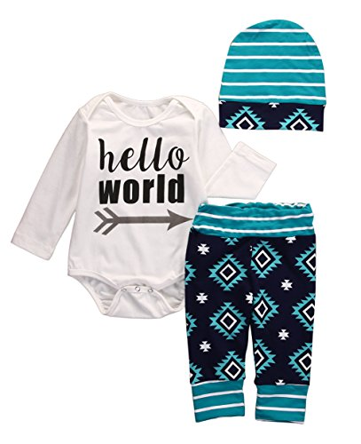 Baby Girls Boys Cute Bodysuits with Leggings Caps 3pcs Outfits Set Toddler Clothes (0-3M, Green)