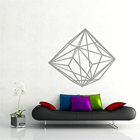 yanqiao Geometrische Persönlichkeit Creative Line Diamant Wand Aufkleber 3D Vinyl Aufkleber handgefertigt Art Custom Zuhause Dekorieren Größe 64,5x 55,4cm Gold Grau