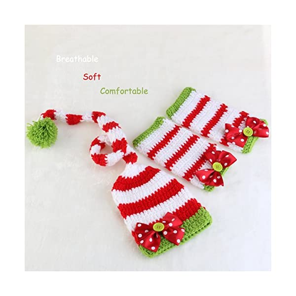 NUOLUX Disfraz Fotografía Props Crochet Sombrero y Ropa para Bebé en Navidad Día 5