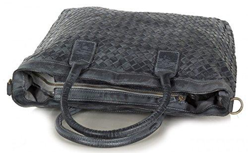 Femmes XL Shopper Sac vintage en cuir (46 x 32,5 x 15 cm) Gris (Gris Foncé)