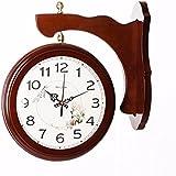 Reloj de pared doble cara de madera de estilo europeo salón relojes en ambos lados tranquila creatividad pastoral reloj de cuarzo decorativo,16 pulgadas,8315 color madera