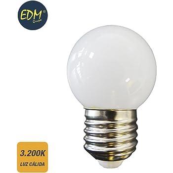 BOMBILLA LED ESFERICA MATE E27 1,5W 3.200K LUZ CALIDA EDM