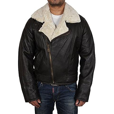 Brandslock para hombre piel de oveja de cuero del motorista bombardero mirada del diseñador de la chaqueta de la