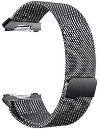 COMEYOU Bande de Poignet en Acier Inoxydable de Grande Taille avec Courroie magnétique et Bracelet Noir pour Bandes ioniques Fitbit