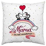 Sheepworld 45235 kleines Baumwoll-Kissen mit Spruch Mama, Du bist wunderbar, Ich hab Dich lieb, 30 cm x 30 cm, Geschenk-Kissen