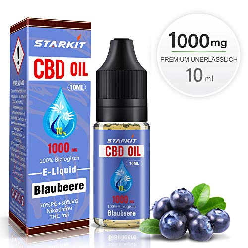 STARKIT® CBD E Liquid 1000mg, Vape Öl 10ml mit 10% Cannabidiol Hanf Öl für E Zigarette Starter Set SMOK E Shisha, PG70/VG30 Eliquid, ohne Nikotin, ohne THC (Blaubeere Geschmack,1000mg)