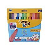BIC Kids Visacolor XL Feutres de Coloriage à Pointe Large - Couleurs Assorties, Etui Carton de 12