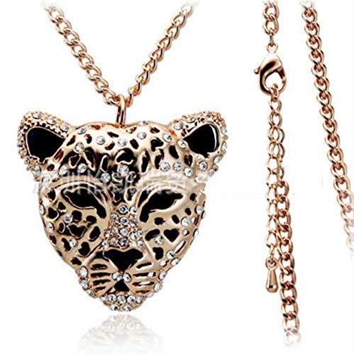 MOUNTINA Kreative Tieranhänger Kristall Verzierte Wilde Ausschnitt-Leopard-Strickjacke-Ketten-Halskette