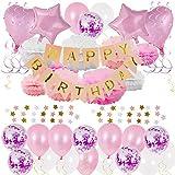 GoMaihe Geburtstagsdeko 41 Stück, Happy Birthday Girlande Banner Set, Party Deko Luftballons Pompons Seidenpapier für Mädchen und Jungen 18 Geburtstag Dekoration Kinder Taufe, Rosa, Weiß, MEHRWEG