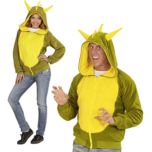 WIDMANN 07030-AZ03?Adultos Disfraz Dragón, Sudadera con Capucha, Verde, tamaño S/M