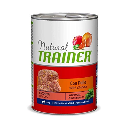 Umido per cani Natural Trainer Adult Medium con Pollo e Cicoria - 12 x 400 Gr- Promo quantità