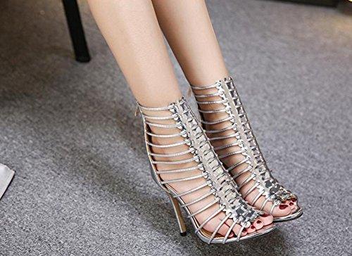 Aisun Damen Elegant Römisch Kunstleder Reißverschluss Stiletto High Top Sommerstiefel Sandale Silber
