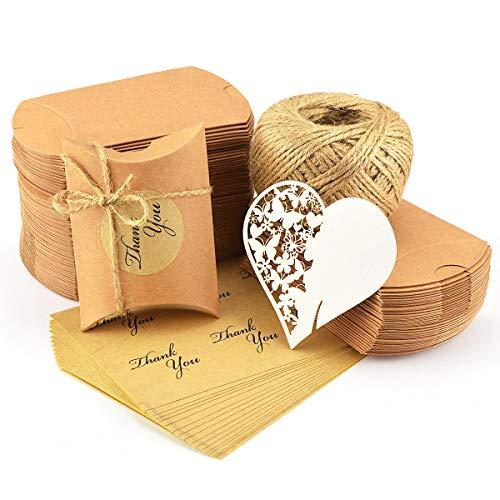 100x Kraftpapier Tüten Hochzeit Geburtstag Party süßigkeiten Karton 7x9cm mit Jute-Schnur 60M Aufkleber 100xØ 3,5cm für Geschenk Party (Kraftpapier) (Kraftpapier) (Halloween-süßigkeiten Machen Zu)