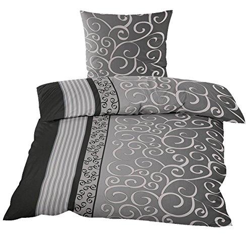 2tlg. Winter Kuschel Fleece Bettwäsche 135x200cm und 80x80cm Winterbettwäsche mit Reissverschlüsse schwarz grau Ranken