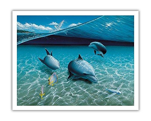 Pacifica Island Art The Chase, Hawaiian Spinner Delfine (Nai A)-Ursprüngliche Farbe Malerei von Mark Mackay-Hawaiian Fine Art Print 11
