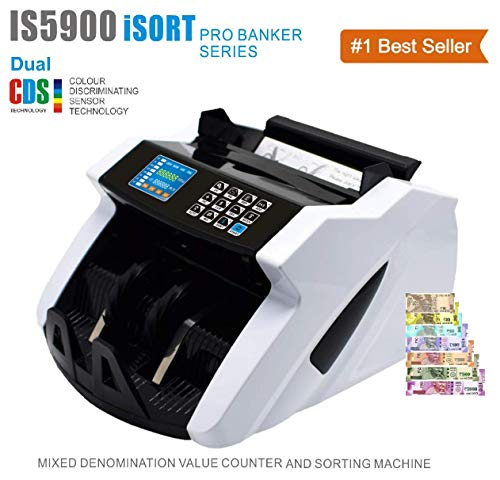 Kross IS5900 ISORT pro Banker Advanced Mix Denomination Value Counter for Mix Currency and Counterfeit Note Detection - for Professional USE/Heavy Duty