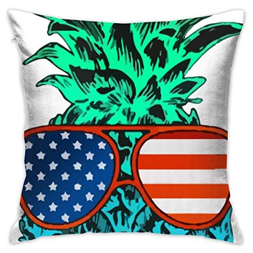 Hunter qiang Blau-Grüne Ananas Flagge Sonnenbrille Startseite Dekorative Dekokissen Cases Kissen Kissenbezug Abdeckung 45x45 cm für Wohnzimmer Schlafzimmer Auto