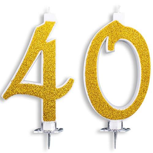 Velas Maxi de 40 años para Tarta de cumpleaños, 40 años, decoración de Velas de cumpleaños, Tarta 40, Fiesta temática, Altura 13 cm, Color Dorado Brillante