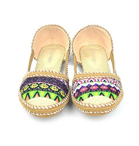 Colorful slip-on ballerine chaussures Confort des femmes couleur verte
