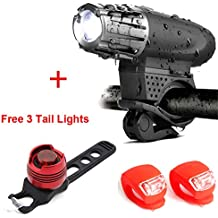 Bike Lights USB ricaricabile[Set luci bici],Luci anteriori e posteriori per biciclette a LED impermeabili luminose,Facile da installare per Cycling Safety Flashlight,Include 3 luci di coda gratuite