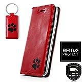 SURAZO Pfote Schwarz RFID Smart Magnet - Premium Vintage Ledertasche Schutzhülle Wallet Case aus Echtesleder Costaleder Farbe Rot für Apple iPhone X (5,80 Zoll)
