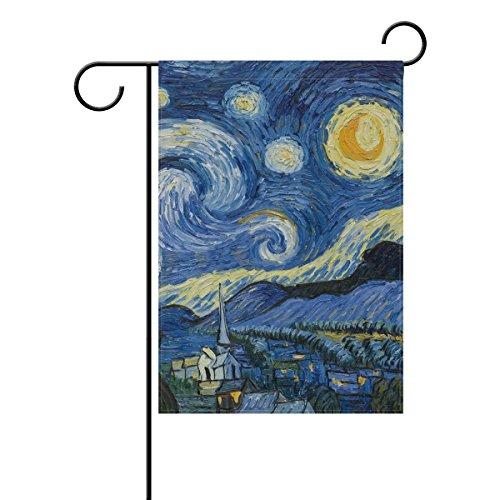 ALAZA Sternennacht Van Gogh Ölgemälde Dekorative Doppelseitige Garten Flagge (Sternennacht ölgemälde)