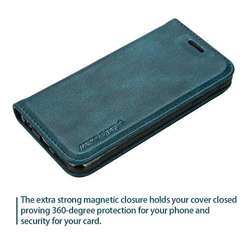 Jisoncase Handytasche PICNICKER Apple iPhone 6S und iPhone 6 mit integrierten Magnetverschluss und Kartenfach Hülle optimaler-Schutz Design Tasche, blau, JS-I6S-09R40 blau