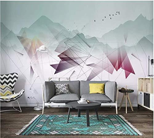 Tapete nordischen Stil moderne einfache abstrakte Linien weit Gebirgshintergrund Wandpapier Wandbild, 300cm * 210cm -