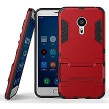 DWay Armor Funda Meizu MX5 Pro Hybrid Design con Stand-up Feature 2 In 1 Combo Dual Layer Detachable Protective Shell Phone Hard Espalda Funda Carcasa para Meizu MX5 Pro 5.7inches (Marsala Red)