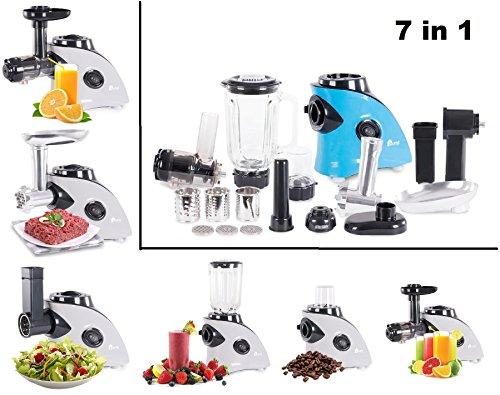 """7 in 1 Küchenwunder\""""MULTIDO\"""" Küchenmaschine Fleischwolf Slow Juicer/Entsafter Standmixer smoothie-maker elektrische Gemüse-reibe Kaffemühle (Blau)"""