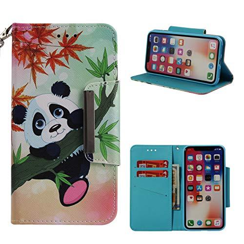 Cozy Hut iPhone X/iPhone XS Schutzhülle, Premium Leder Hülle Flip Case Tasche Hüllen mit Magnetverschluss Standfunktion Schutzhülle handyhüllen für iPhone X/iPhone XS - Bambuspanda Os X Iphone