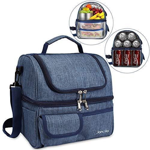 Janolia Lunchbox für Erwachsene, isoliert, große Kühltasche für Männer, Frauen, Doppeldeck-Kühler, geeignet für 21 Dosen von 330 ml Koks