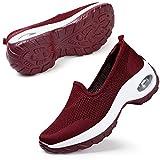 STQ Scarpe da Trekking Leggere Traspiranti per Donna Scarpe da Passeggio con Cuscino d'Aria alla Moda Casual(Rosso 40 EU)