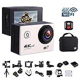 """Action-Kamera 4K 16MP Wi-Fi Sport Cam Unterwasser 30M Tauchen Camcorder mit 2,0 """"LCD-Bildschirm, 170 ° Weitwinkel (Portable Case + 2 Batterien + 2.4G Fernbedienung + Stativ + Akku Lade Dock)(GB/UK Stecker ) - Silber"""