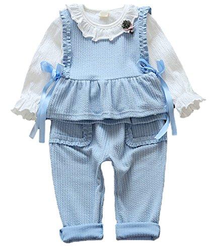Scothen Baby Kinder Mädchen Warme Baumwoll Blumen Lange Hülsen T-Shirt+ Top+ lange Hosen Outfits Set Kleidung Set Bekleidungssets Baby Sets (Fledermaus Gemütlich Kind Kostüme)