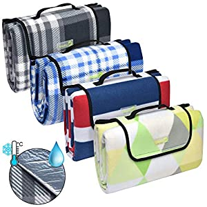 Beautissu Picknickdecke BellaKa Wasserdicht 200×200 XXL Outdoor, wärmeisoliert & weich Fleece Stranddecke Outdoordecke…