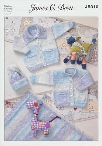 James C Brett Baby Cardigans, Hat and Blanket JB010 Knitting Pattern Size 31 - 56cm / 12 - 22inches