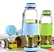 House of Quirk 350Ml Green Tea Bottle Hot Selling Single-Cup Glass(Assorted Color Will Be Send)