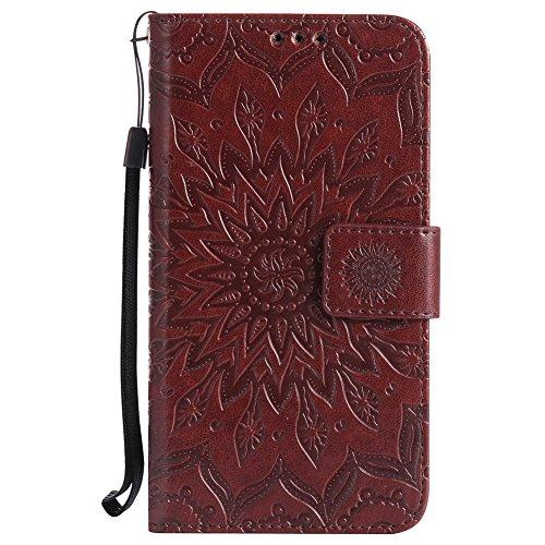 Huawei Honor 7I Hülle, Chreey [Prägung Indische Sonne] Lederhülle Sonnen Blume Brieftasche Wallet Tasche Magnet Flip Case Handyhülle Etui mit Kartenfach Ständer [Braun]