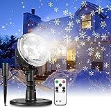 LED Projektionslampe mit Fernbedienung 9W NACATIN LED Weihnachtsbeleuchtung Außen und Innen IP65 Weihnachtenlampe mit Time Stimmungslichter für Weihnachten Party Hochzeit (Schneeflocken updated)