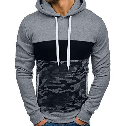Mens Camouflage Hoodies Mann Plus Size Pullover Mode Patchwork Langarm-Kapuzen-Sweatshirt Tops Bluse mit Taschen Moonuy (Camouflage-lampen Für Wohnzimmer)