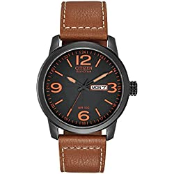 Citizen Men's Eco-Drive Watch with Black Dail Analogue Display and Brown Leather Strap BM8475-26E