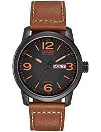 7c7a26f650a Citizen Men s Eco-Drive Watch with Black Dail Analogue Display and Brown  Leather Strap BM8475